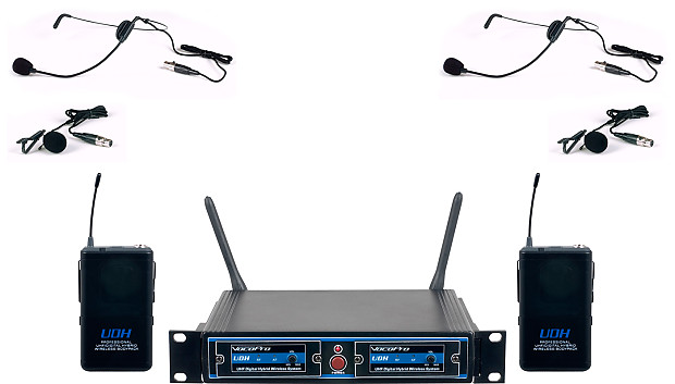 VocoPro UDH-DUAL-B Dual UHF/DSP Hybrid Wireless Microphone   Reverb
