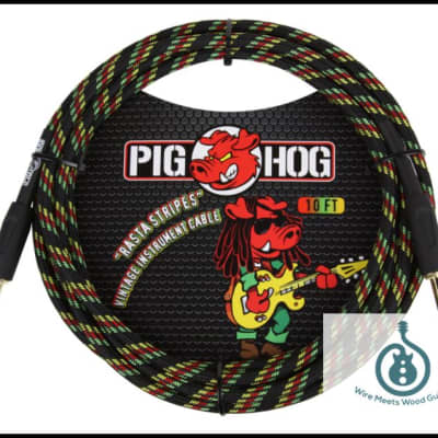 "Pig Hog Instrument Cable Rasta Stripe 1/4"" to 1/4"" 10 ft. Rasta Stripes, PCH10RA"