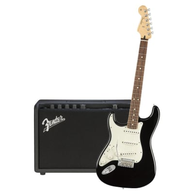 Fender Player Stratocaster Left Hand Black Pau Ferro & Fender Mustang GT 40 Bundle for sale