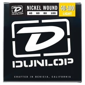 Dunlop DBN40100 Nickel-Wound Stainless Steel Light .40-.100 Electric Bass Strings (4 Set)