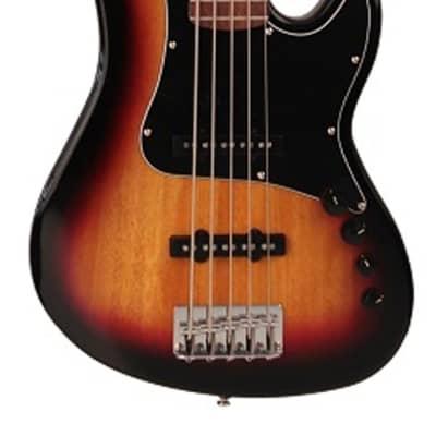 Cort GB35JJ 5-String Bass, Active 2-Band EQ, 3 Tone Sunburst, GB35JJ3TS-U