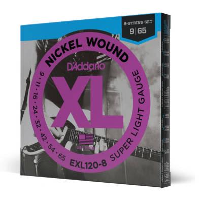D'Addario EXL120-8 8-String Nickel Wound Super Light Electric Guitar Strings, 09-65 Nickel