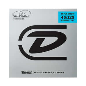 Dunlop DBMMS45125 Marcus Miller Signature Super Bright Stainless Steel 5-String Bass Strings (45-125)