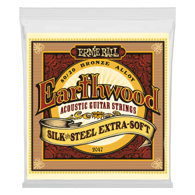 Ernie Ball 2047 Earthwood Silk & Steel Extra Soft 80/20 Bronze Acoustic Guitar Strings - 10-50 Gauge