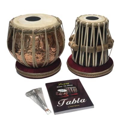 Satnam COPPER Bayan Hand Crafted Professional Tabla Drum Set with Gig Bag, Hammer, Book & Cushions