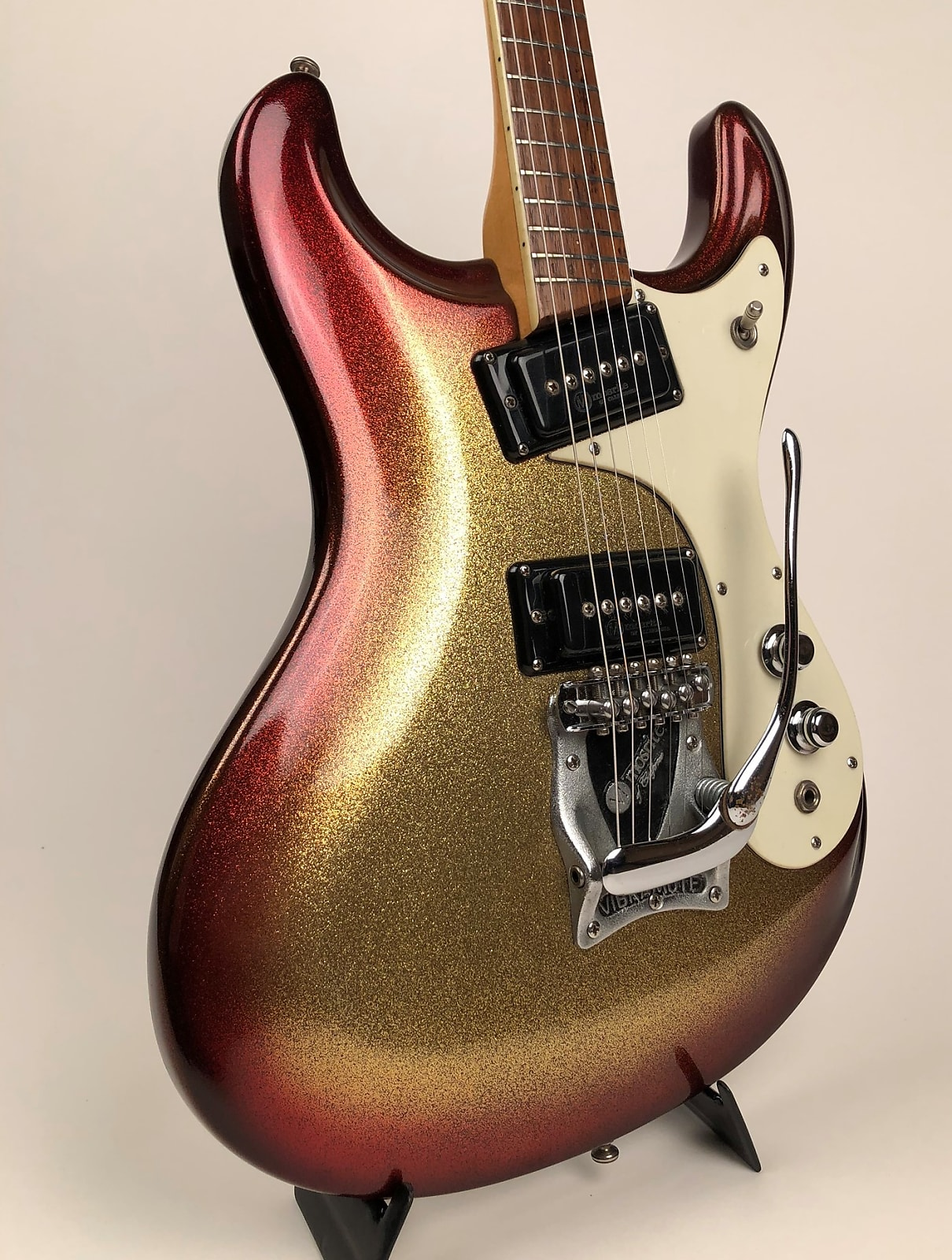 Very Rare 1965 Mosrite Ventures Vibramute in Custom Color Sparkle Sunburst & Original Hardshell Case