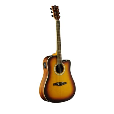 Eko TRI Dreadnought Cutaway Acoustic Electric Guitar - Honey Burst for sale