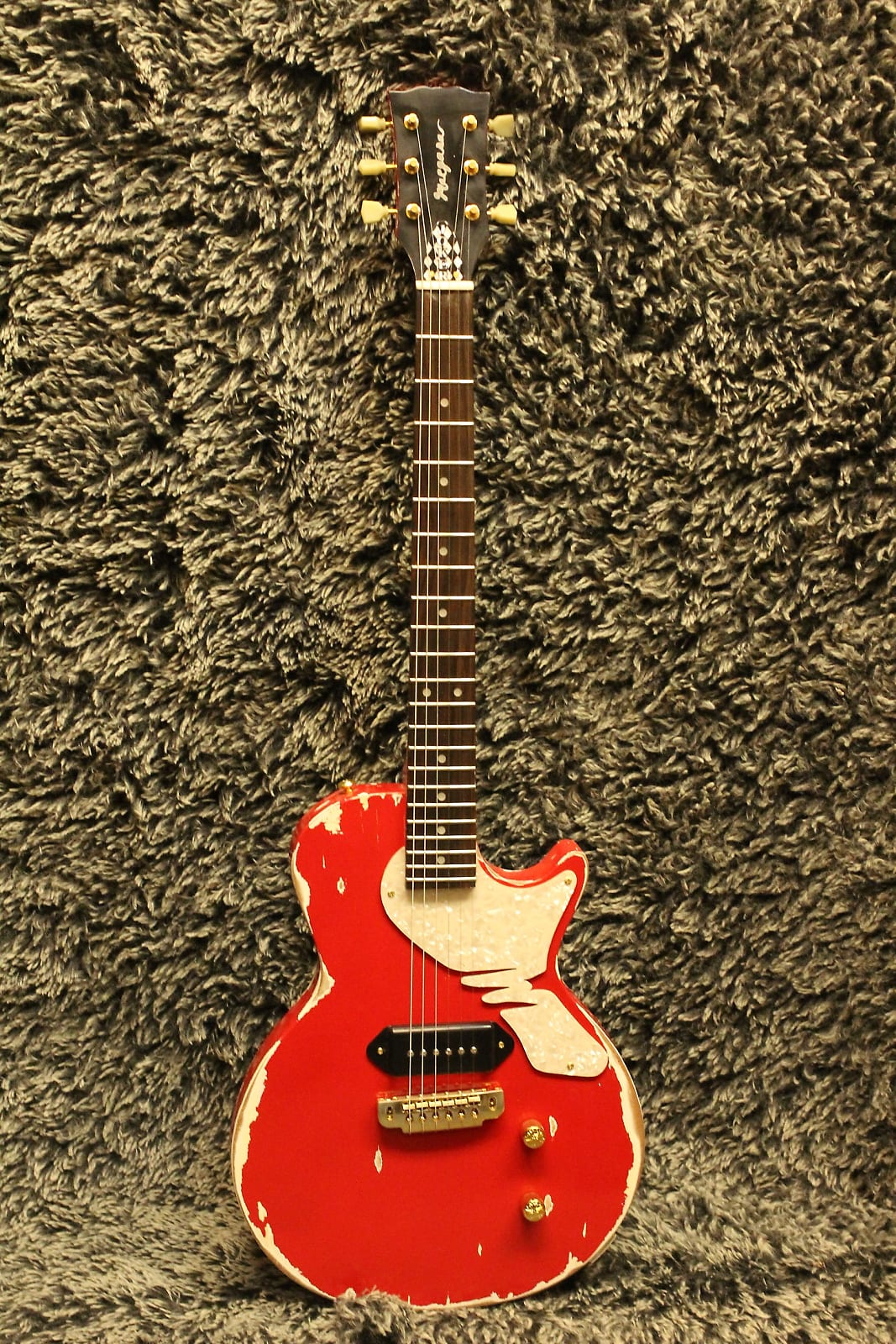 USA Margasa Joker Guitar 2015 Vintage Style Heavy Relic, Bel Air Red + Gibson® P90