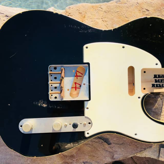 Real Life Relics Tele Telecaster Body Double Bound Aged Black image