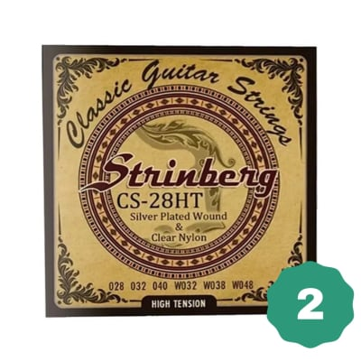 New Strinberg CS-28HT Silver Plated Wound Clear Nylon 6-String Classical Guitar Strings (2-PACK)