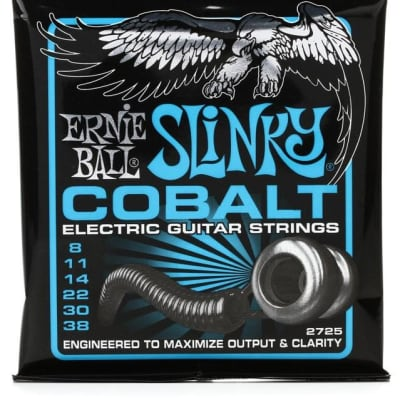 Ernie Ball 2725 Cobalt Extra Slinky Electric Guitar Strings, .008 - .038