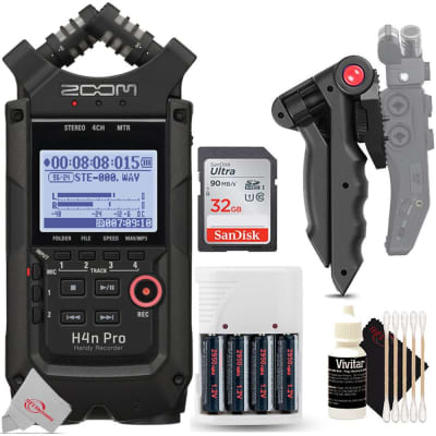 Zoom H4n Pro 4-Input / 4-Track Digital Portable Audio Handy Recorder With Onboard X/Y Mic Capsule (Black) + 32GB Memory Card + Table Top Tripod + Battery and Charger + 3pc Cleaning Kit