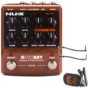 Nux Roctary Rotary Speaker Simulator Polyphonic Octave Pedal + Tuner + Cables