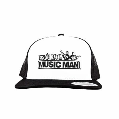 Ernie Ball Black & White Trucker Cap w/ Ernie Ball Eagle for sale
