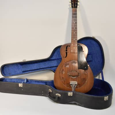 1937 National  Duolian Vintage Steel Body 14 Fret Resonator Acoustic Guitar Faux Wood Finish w/HSC for sale