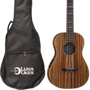 Luna High Tide Series Zebrawood Baritone Acoustic-Electric Ukulele, UKE HTB ZBR for sale