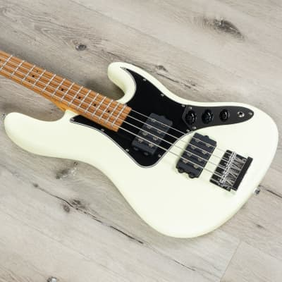 Balaguer The Goliath Select Bass, Roasted Birdseye Maple, Modern Vintage White for sale