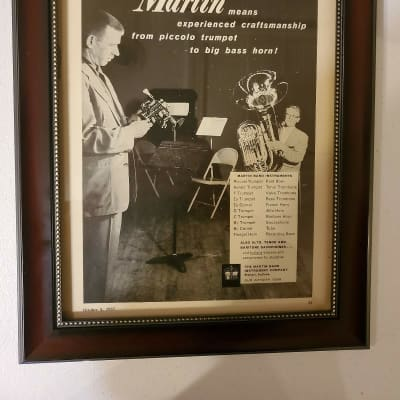 1957 Martin Horns Promotional Ad Framed Martin Band Instruments Original