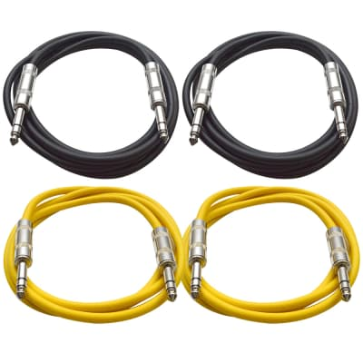 """4 Pack of 1/4"""" TRS Patch Cables 6 Feet Extension Cords Jumper - Black & Yellow"""