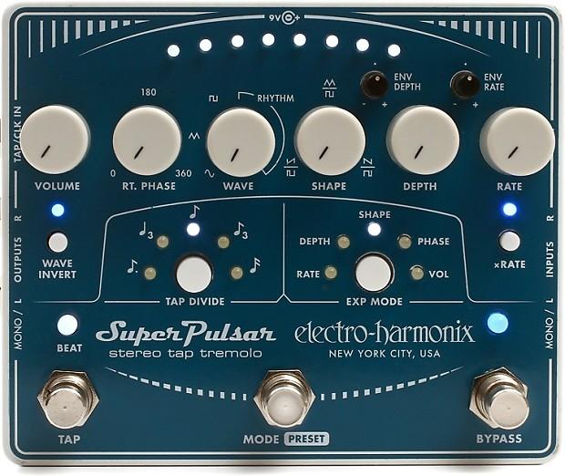 electro harmonix super pulsar stereo tap tremolo pedal reverb. Black Bedroom Furniture Sets. Home Design Ideas