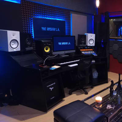 omnirax forte studio desk for composing, editing, production, keyboard, and mixing workstation