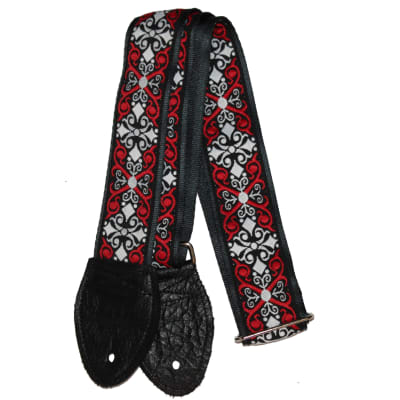 """Souldier 1.5"""" Constantine in Red and Black Custom Guitar Strap"""
