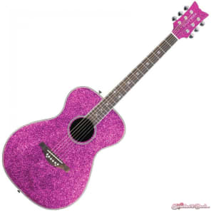 Daisy Rock Pixie Acoustic Electric Guitar Pink Sparkle for sale