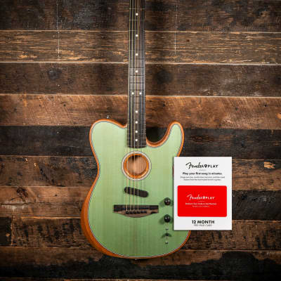 (Free 12 Month Fender Play) Available Now!  Fender  Acoustasonic Telecaster Surf Green for sale