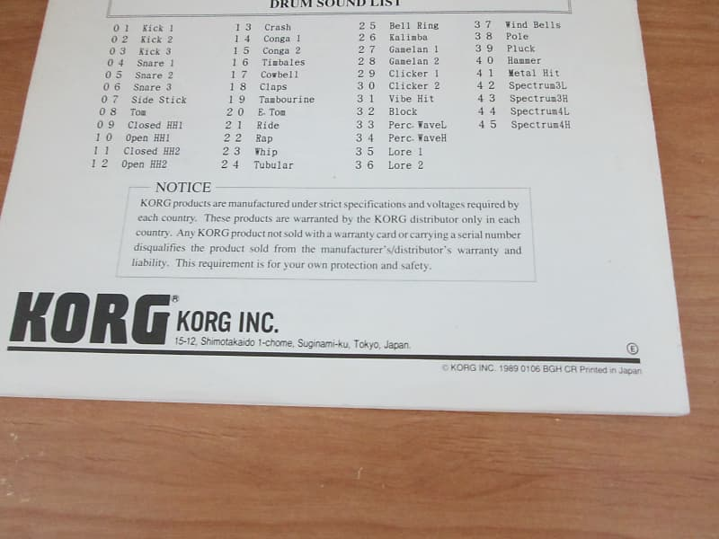 Korg M3R AI Synthesis Module - Manual in English