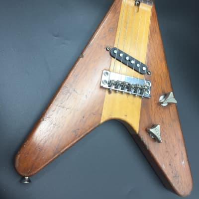 Phil Kubicki Arrow Flying V Travel Guitar 1981 Natural for sale