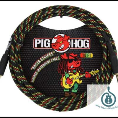 "Pig Hog Instrument Cable Rasta Stripe 1/4"" to 1/4"" 10 ft. Rasta Stripes, PCH10RA"