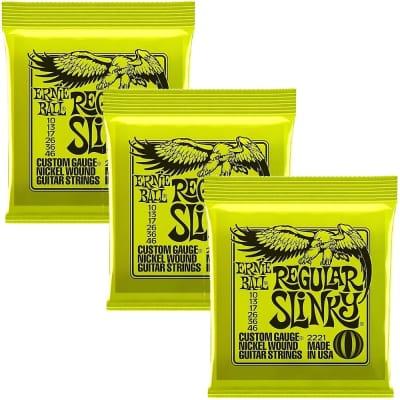 3-Pack Ernie Ball 2221 Regular Slinky Nickel Wound Electric Guitar Strings (10-46) image