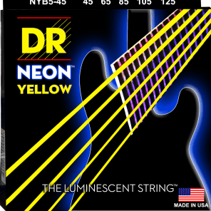 DR NYB5-45 Hi Def Coated Neon 5-String Bass Strings - Medium (45-125)
