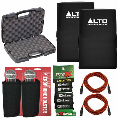 Alto TS215 Padded Slip-On Speaker Covers Pair + Storage Case + Accessories Pack