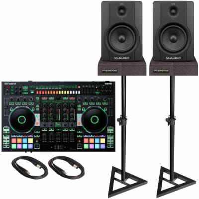 "Roland DJ-808 4-Channel Mixer & DJ Controller with M-Audio BX5 Carbon Black 5"" Active Monitor Speakers Package"
