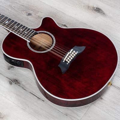 Takamine TSP158C-12 STR Acoustic Electric 12-String Guitar, See-Through Red