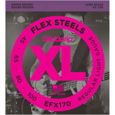 D'Addario EFX170 FlexSteels Long Scale Bass Guitar Strings, Light Gauge