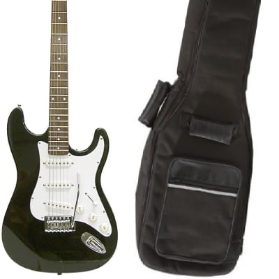 Crestwood ST920WH Solid Body Electric Guitar, Black (Stratocaster Style Electric Guitar) for sale