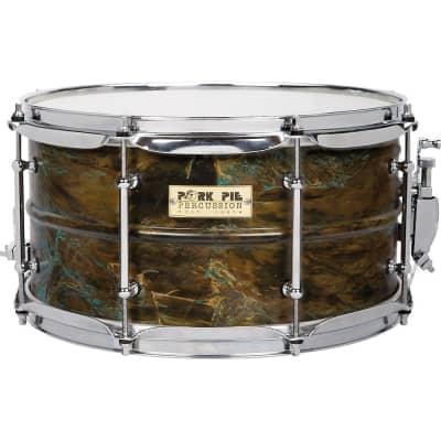 """Pork Pie PP7X13PB Patina Brass 7x13"""" Snare Drum w/ Tube Lugs"""