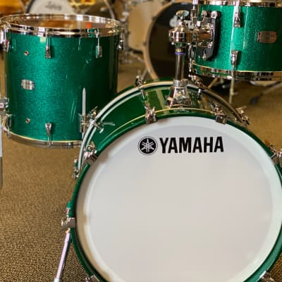 Yamaha Absolute Hybrid Maple 3pc Shell Pack Drumset In Jade Green Sparkle 12/16/22