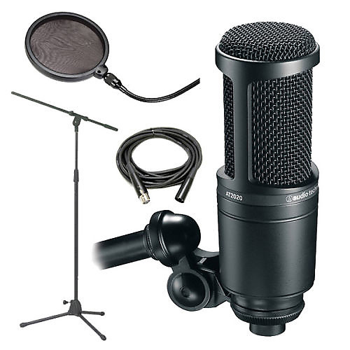 audio technica at2020 recording condenser mic with stand. Black Bedroom Furniture Sets. Home Design Ideas