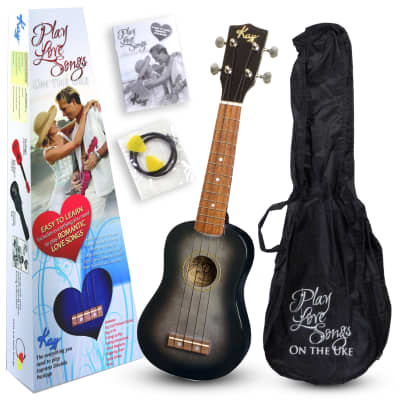 Kay U12PBKS Black Smoke Soprano Ukulele Package (Free Shipping) for sale