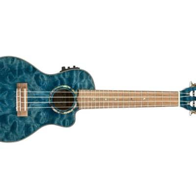 Lanikai QMBL-CEC Quilted Maple Blue Stain Concert Acoustic-Electric Ukulele for sale
