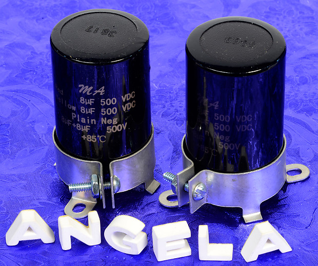 Two 8uF+8uF 500VDC Electrolytic Capacitors For Vintage Amps With Free  Mounting Clamps