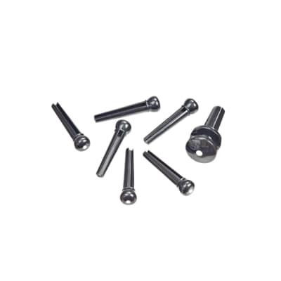 D'Addario Injected Molded Bridge Pins with End Pin Set, Ebony with Ivory Dot