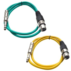 """Seismic Audio SATRXL-F3-GREENYELLOW 1/4"""" TRS Male to XLR Female Patch Cables - 3' (2-Pack)"""