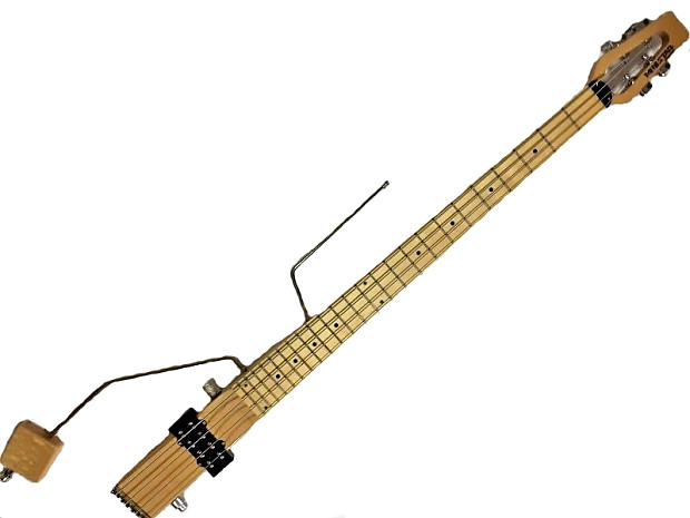 Ministar Basstar Travel Guitar Natural Finish 4 String Bass with Built-in  Amp