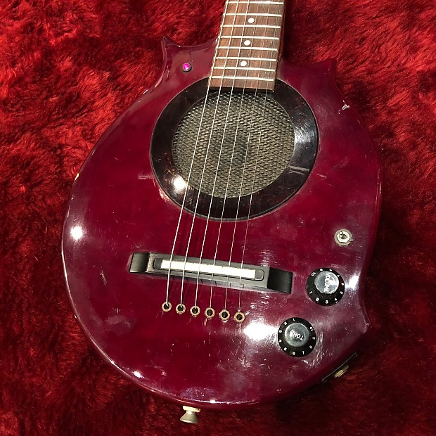 "c 1990s-2000s Morris Sound Circus Built in Amp MIJ Guitar Travel Mini  Guitar ""Dark Cherry"""