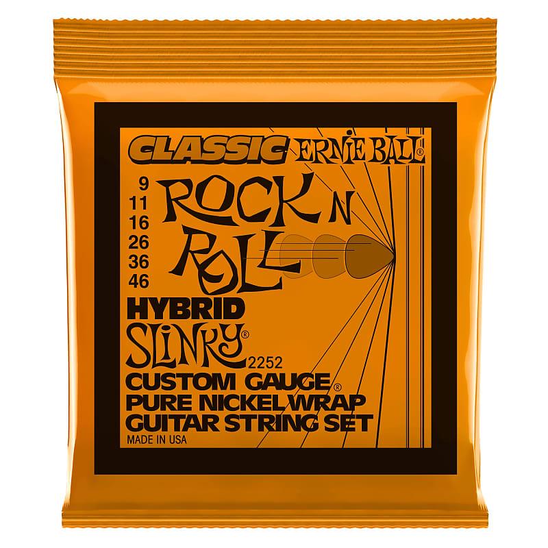 Ernie Ball Hybrid Slinky Classic Rock N Roll Pure Nickel Wrap Electric Guitar Strings 9-46 Gauge