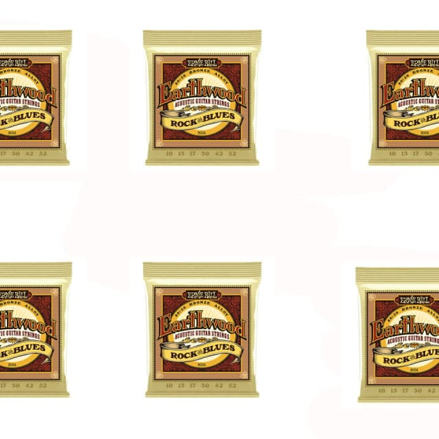 Ernie Ball 2008 Rock and Blues Earthwood 80/20 Bronze Acoustic Guitar Strings 6 Pack Special image